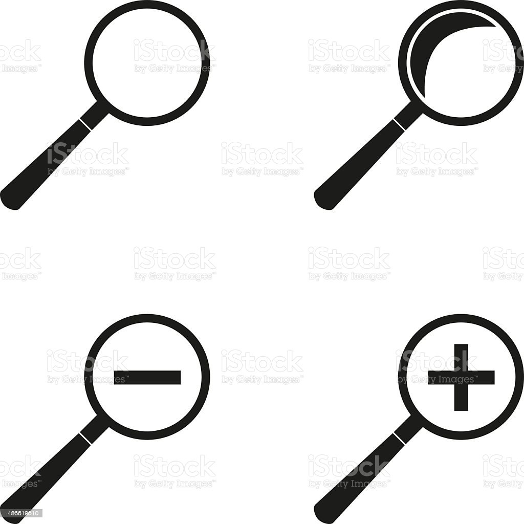 Set of magnifying glasses. vector art illustration