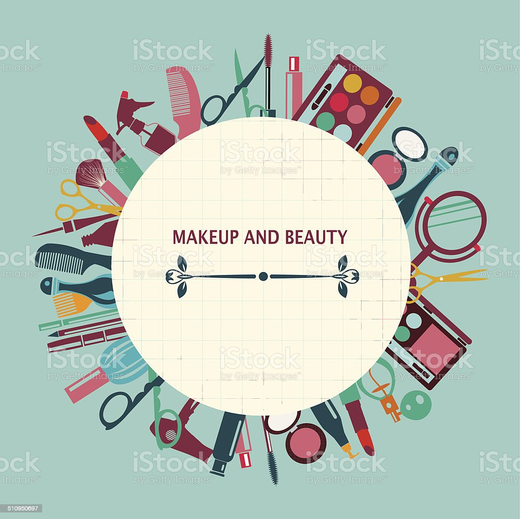 set of makeup and beauty elements  pattern-illustration vector art illustration