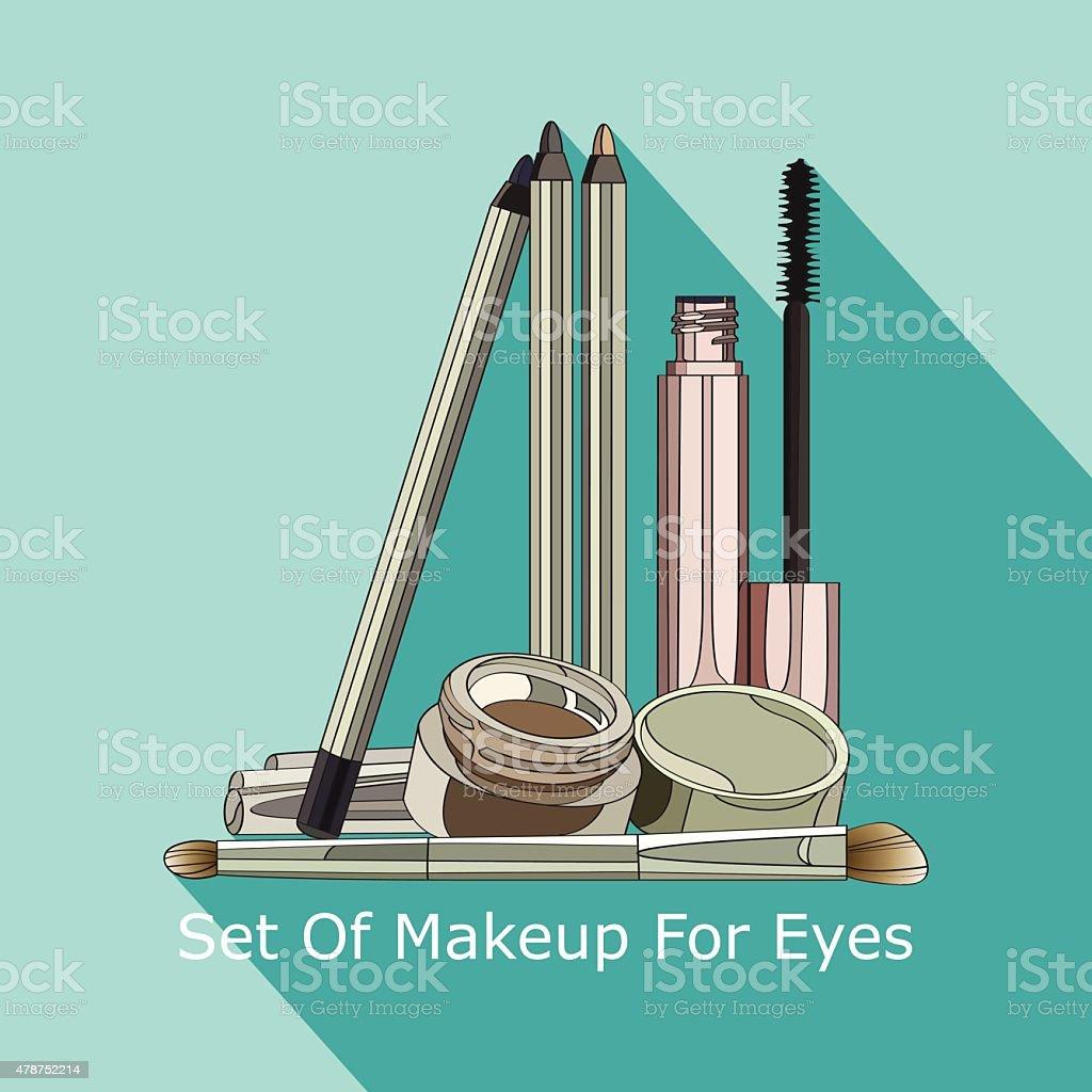 set of makeup for eyes vector art illustration