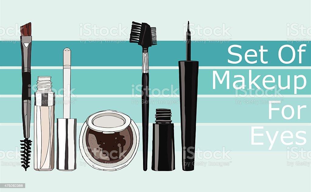 set of makeup for the eyes vector art illustration
