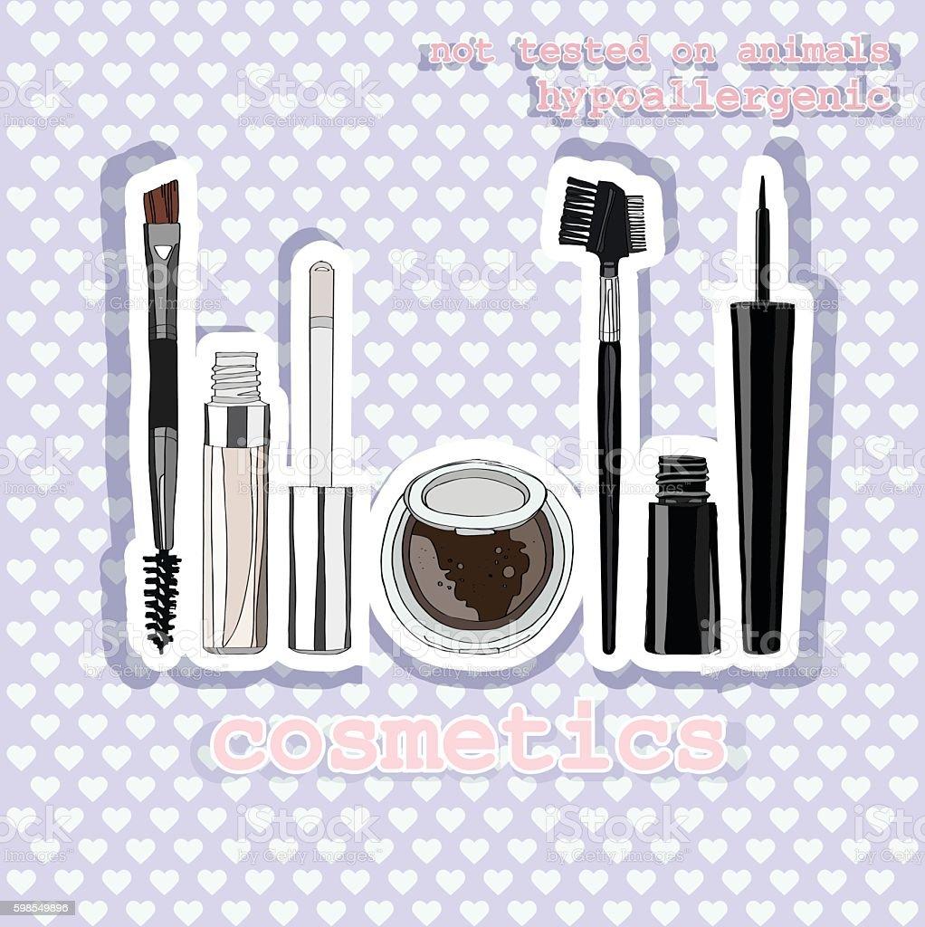 set of makeup for the eyes. vector art illustration