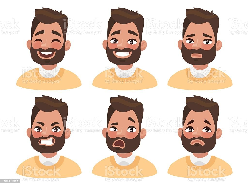 Set of male facial emotions. Bearded man emoji character with vector art illustration