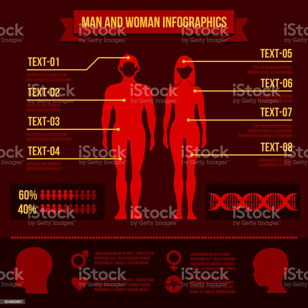 Set of Man and Woman Infographic Elements. Vector royalty-free stock vector art