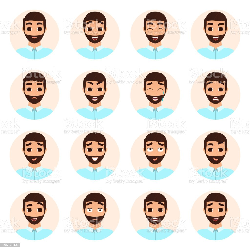 Set of man emotions icons royalty-free stock vector art