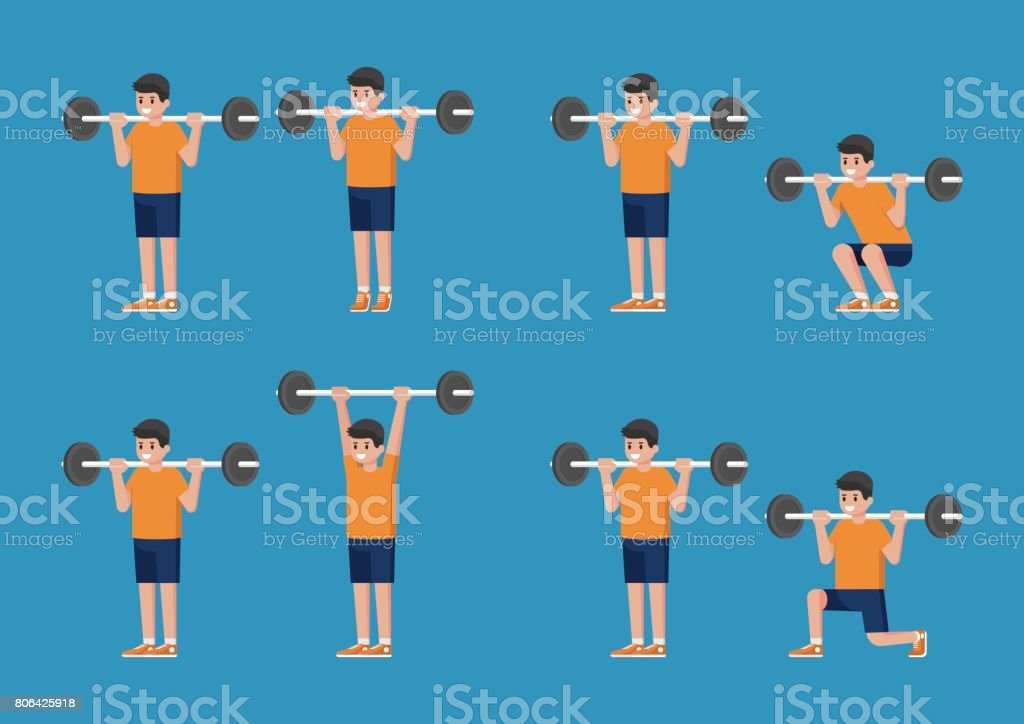 Set of man in bodybuilding and weight training poses. vector art illustration