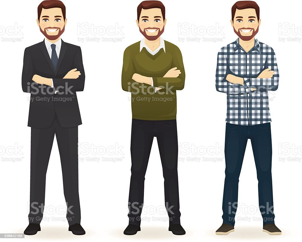 Set of man in different clothes vector art illustration