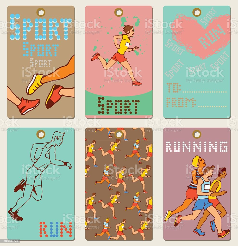Set of Man Marathon Runners Labels vector art illustration