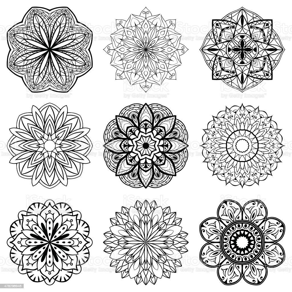 Set of mandalas vector art illustration