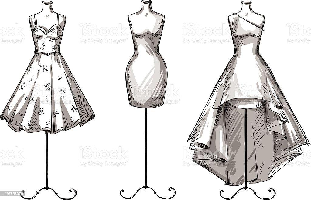 Set of mannequins. Dummies with dresses. Fashion illustration. vector art illustration