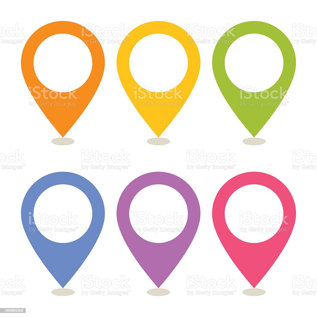 Set of map pointers vector art illustration