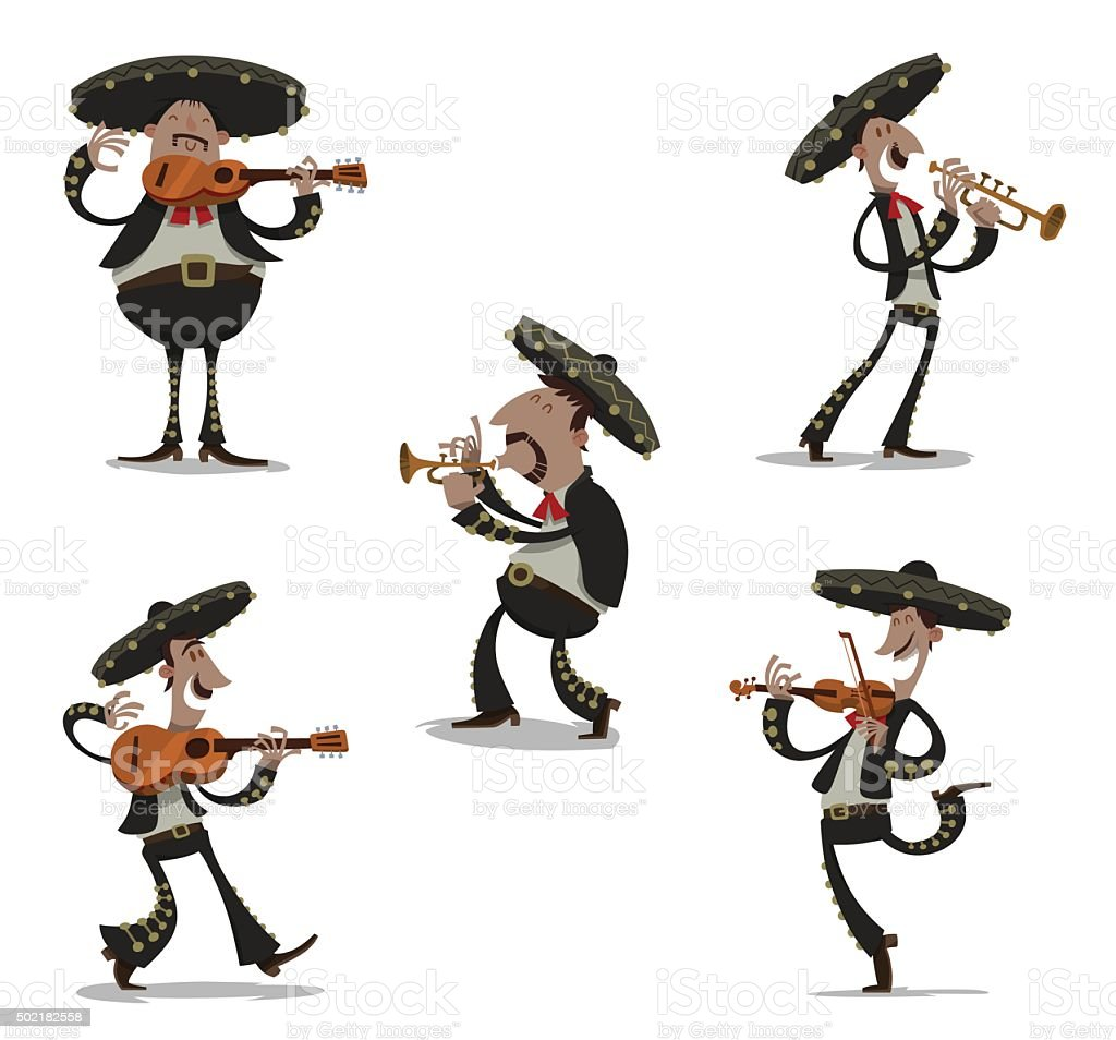 Set of Mariachis, colored vector art illustration