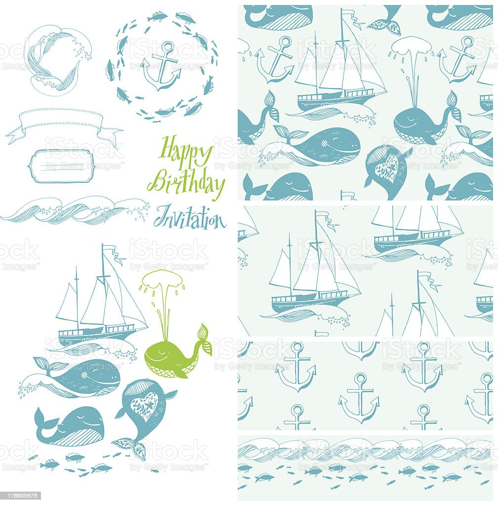Set of marine attributes. royalty-free stock vector art