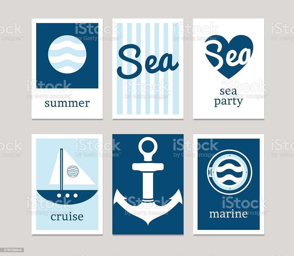 Set of marine cards vector art illustration