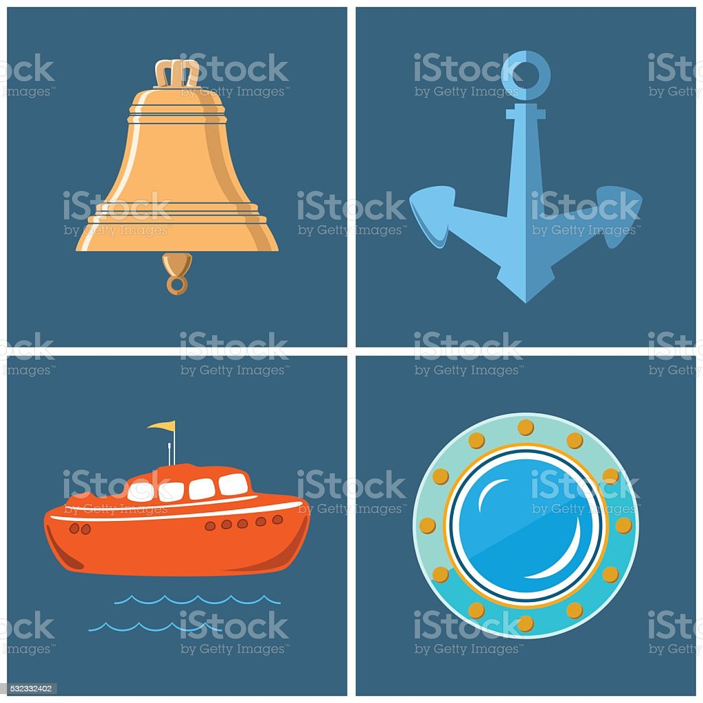Set of Marine Icons vector art illustration