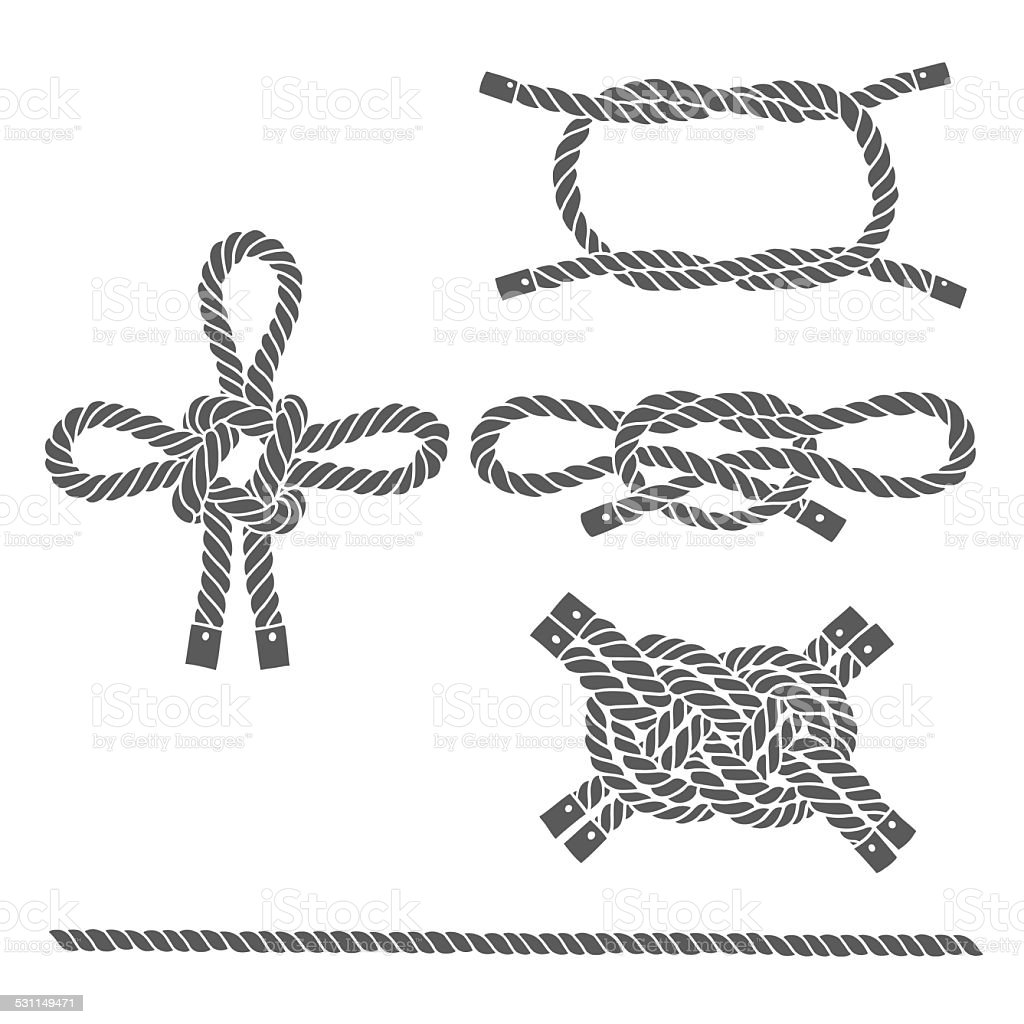 Set of marine rope, knots. Vector isolated  elements . vector art illustration