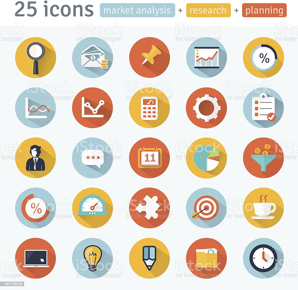 Set of market analysis app icons vector art illustration