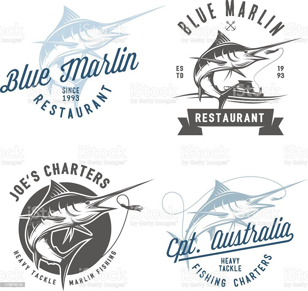 Set of marlin fishing emblems, badges and design elements vector art illustration