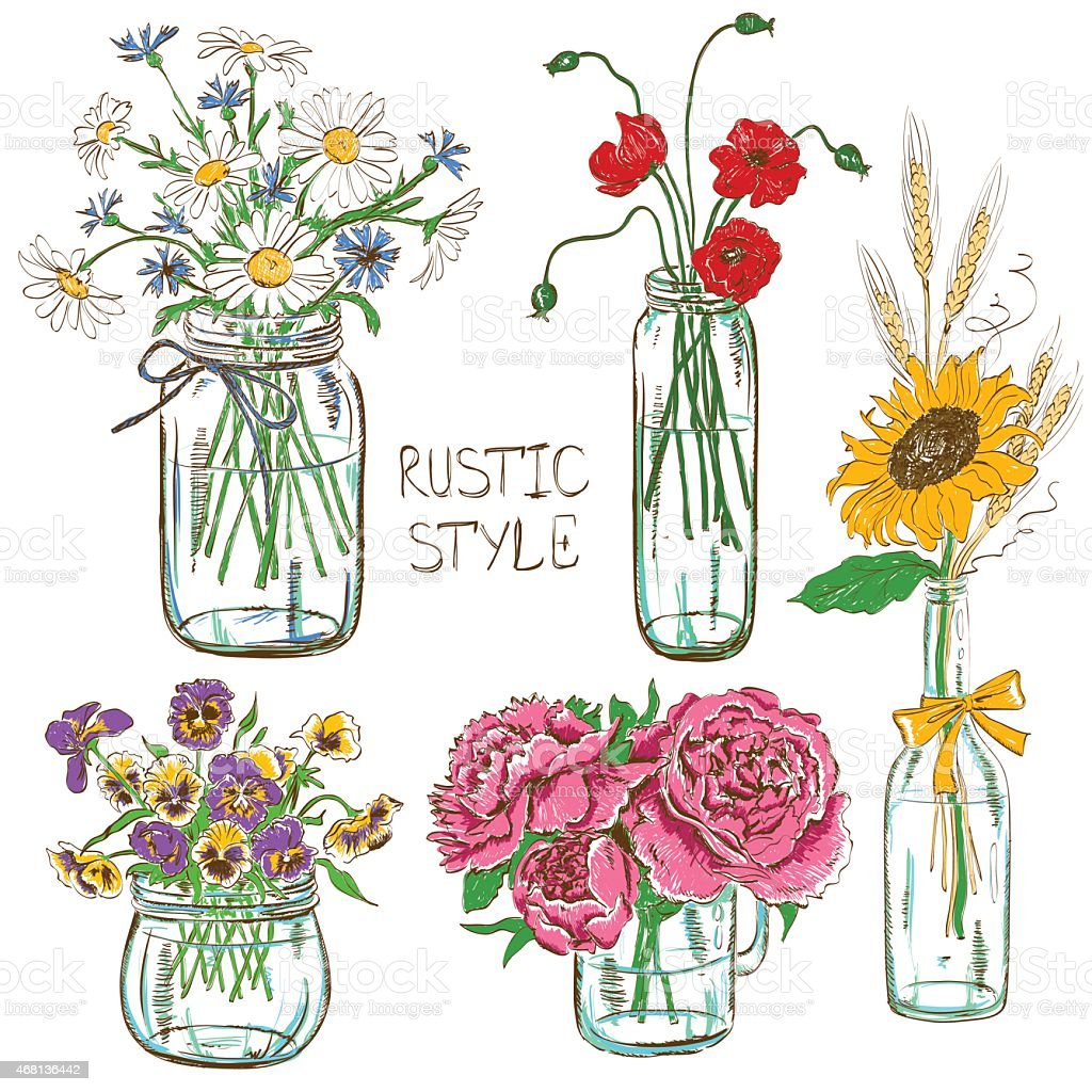 Set of mason jars with flowers vector art illustration