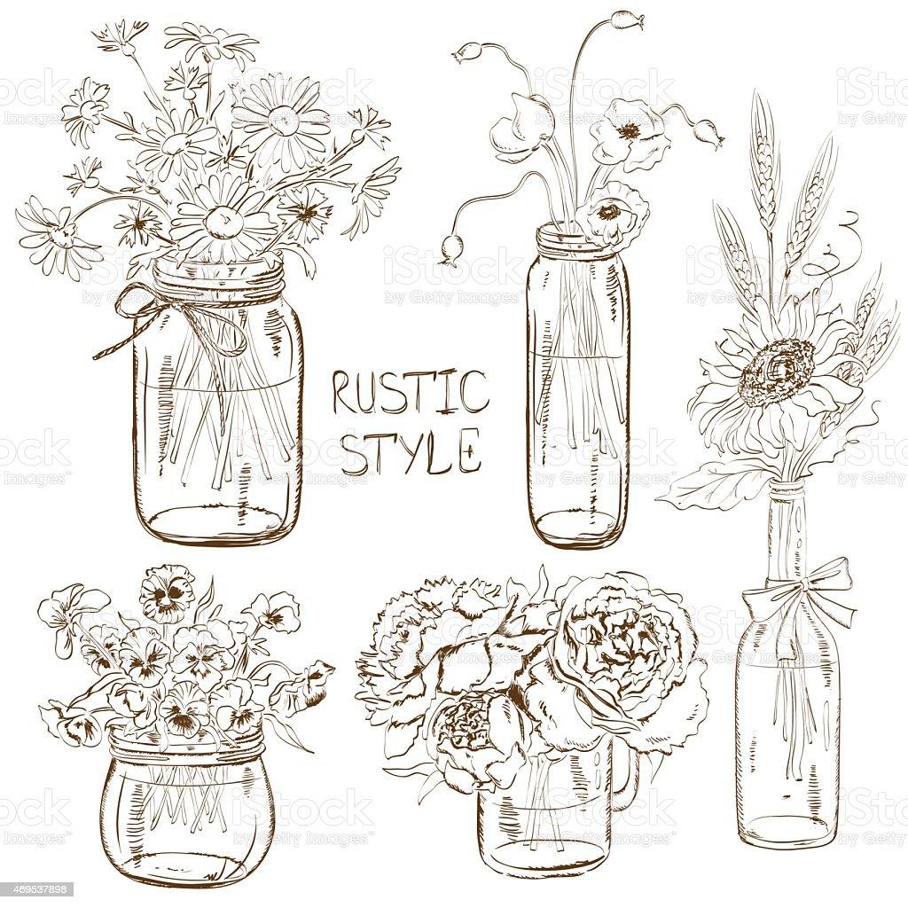 Set of mason jars with flowers vector art illustration