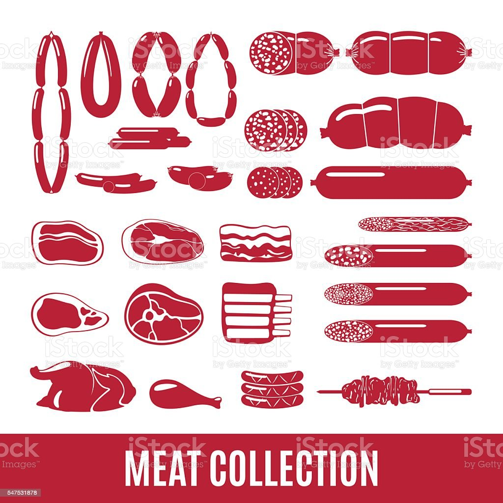 Set of meat and sausage icons. vector art illustration