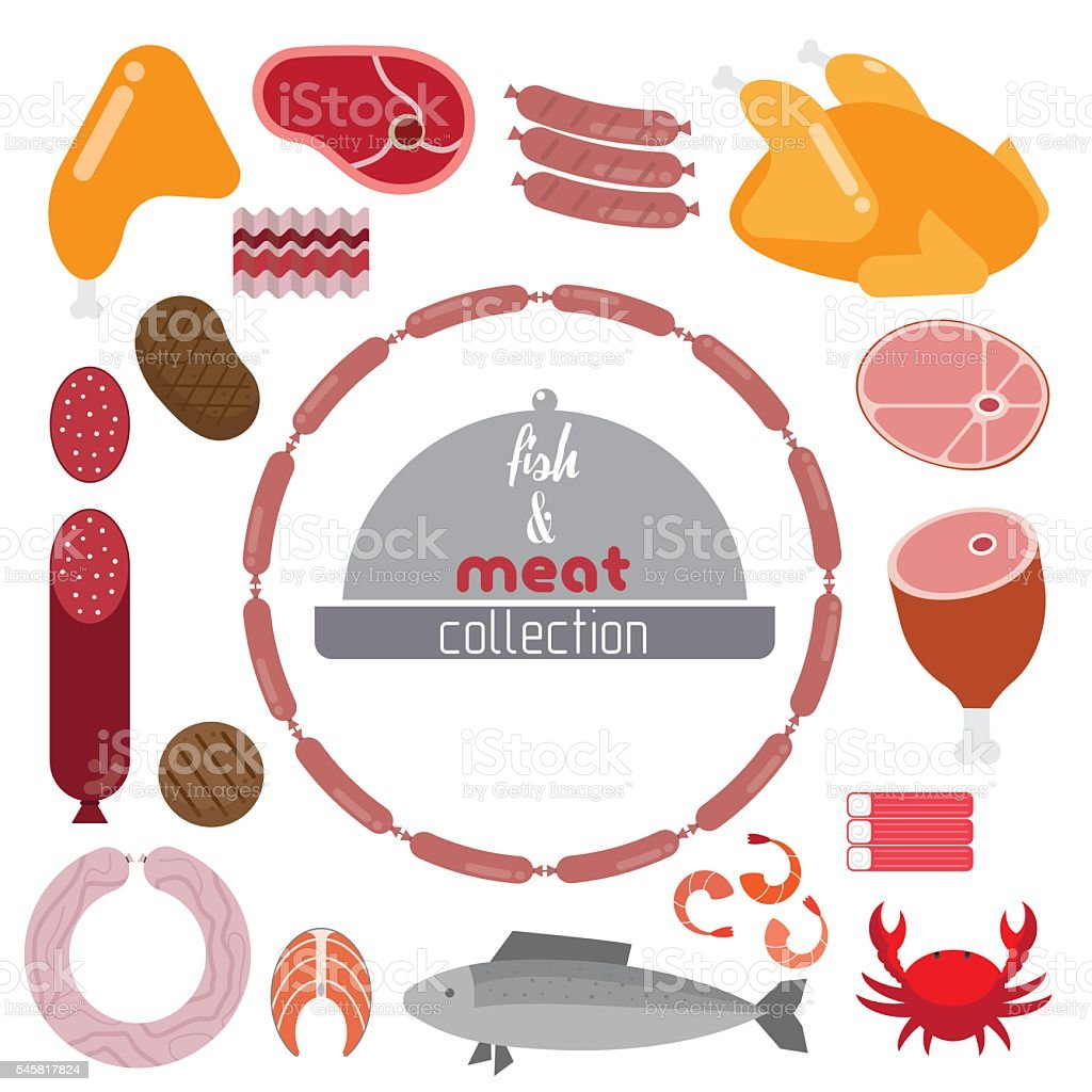 Set of meat and seafood vector art illustration