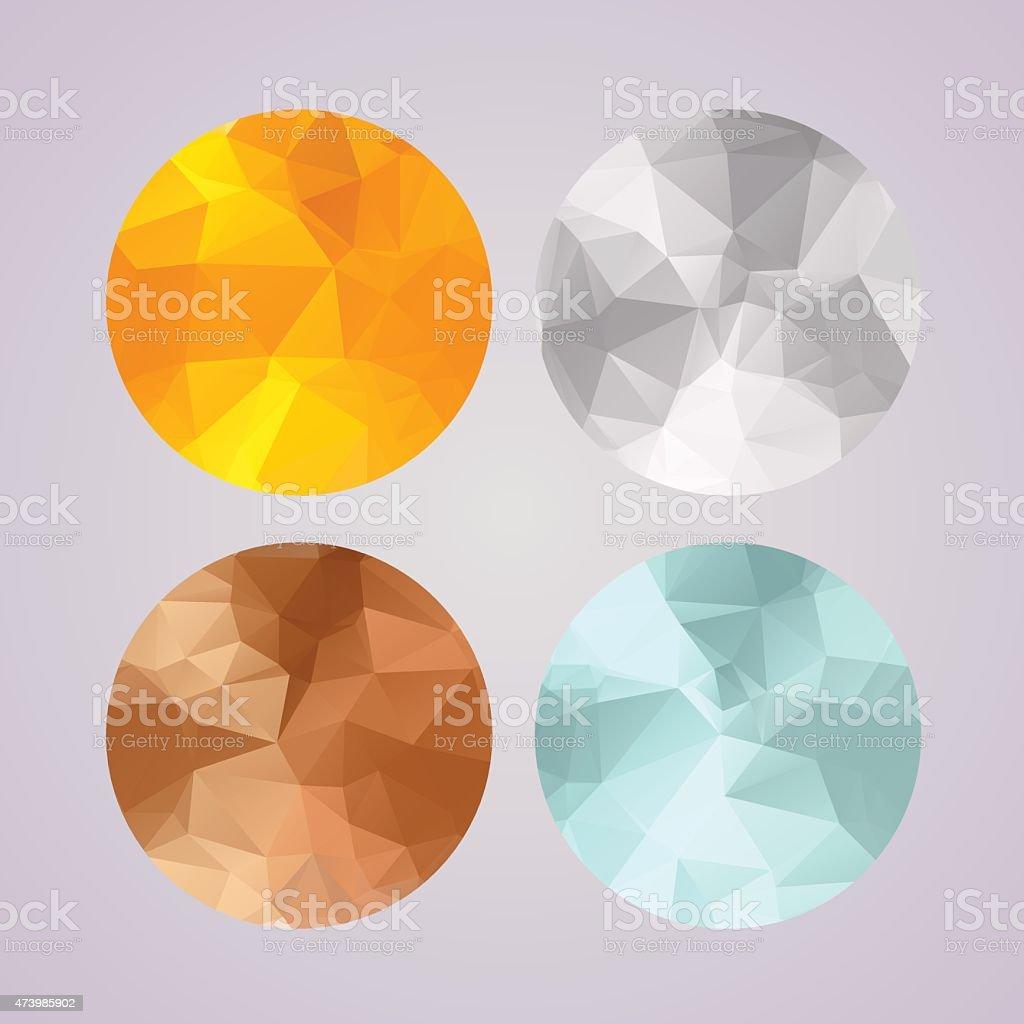 Set of medals gold, silver, bronze, platinum in polygonal style vector art illustration