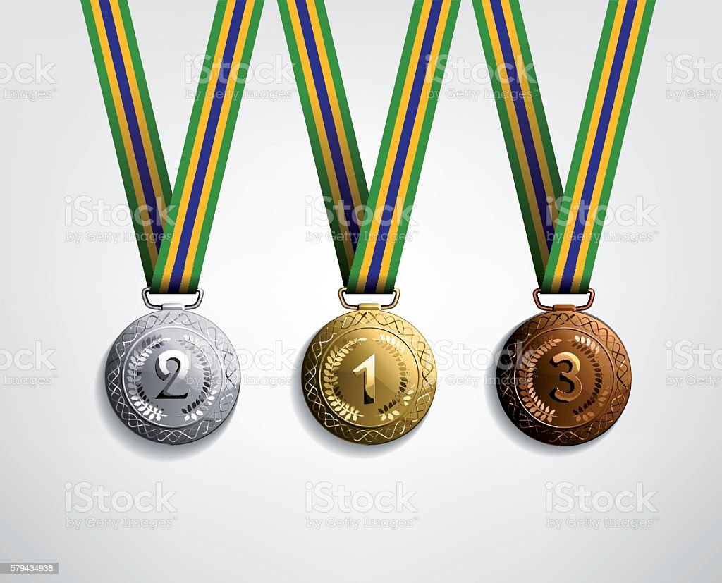 set of medals in gold silver and bronze vector art illustration