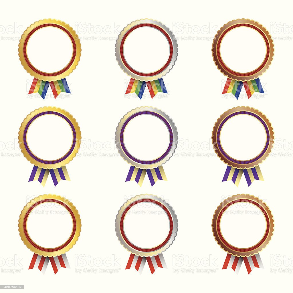 Set of medals with multicolored ribbons royalty-free stock vector art
