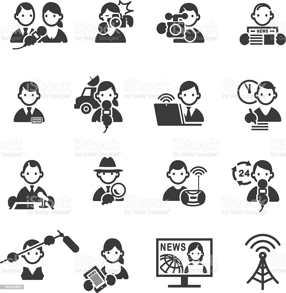 Set of Media and Press icons. vector art illustration