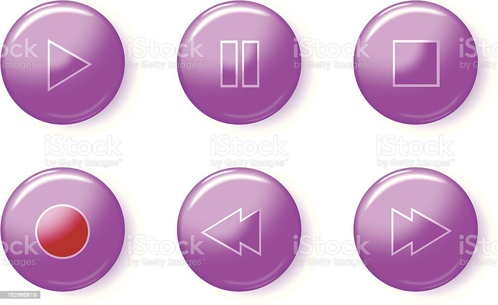 Set of media player buttons royalty-free stock vector art