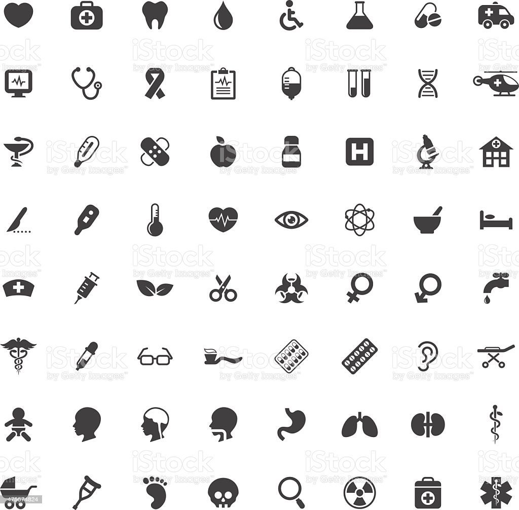 Set of medical and healtcare vector icons vector art illustration