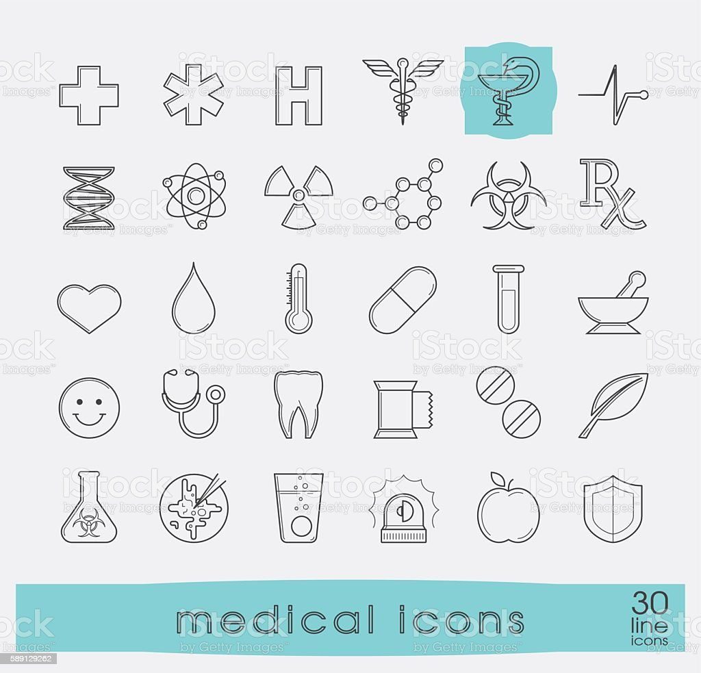 Set of medical and pharmaceutical icons. vector art illustration