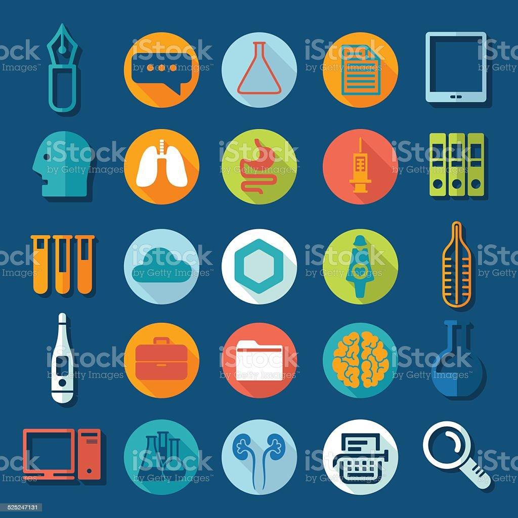 Set of medical flat icons vector art illustration