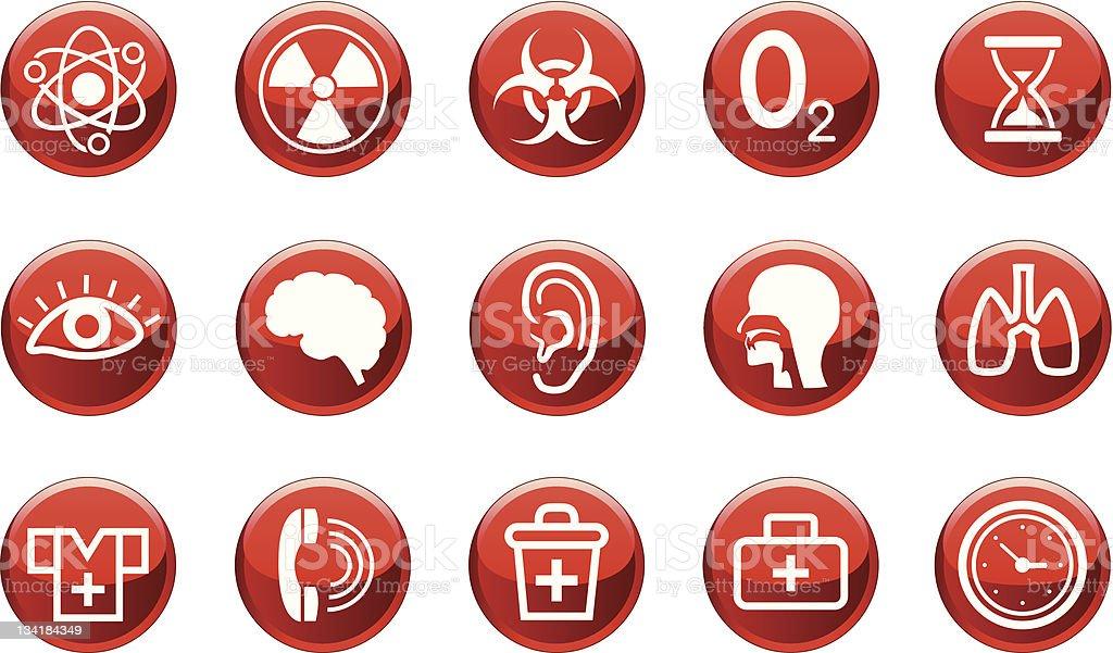 Set of medical icons and warning signs royalty-free stock vector art