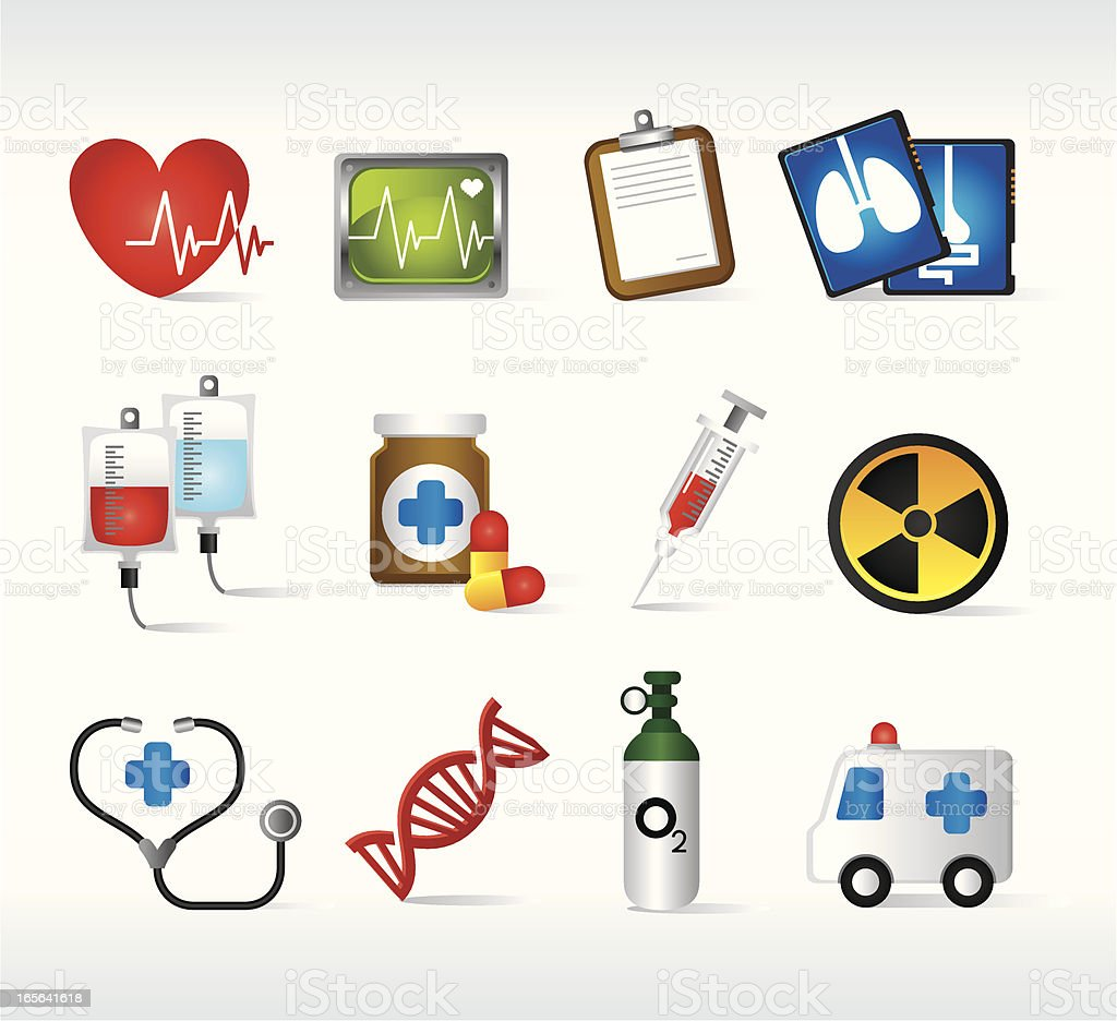 Set of medical icons in colors royalty-free stock vector art