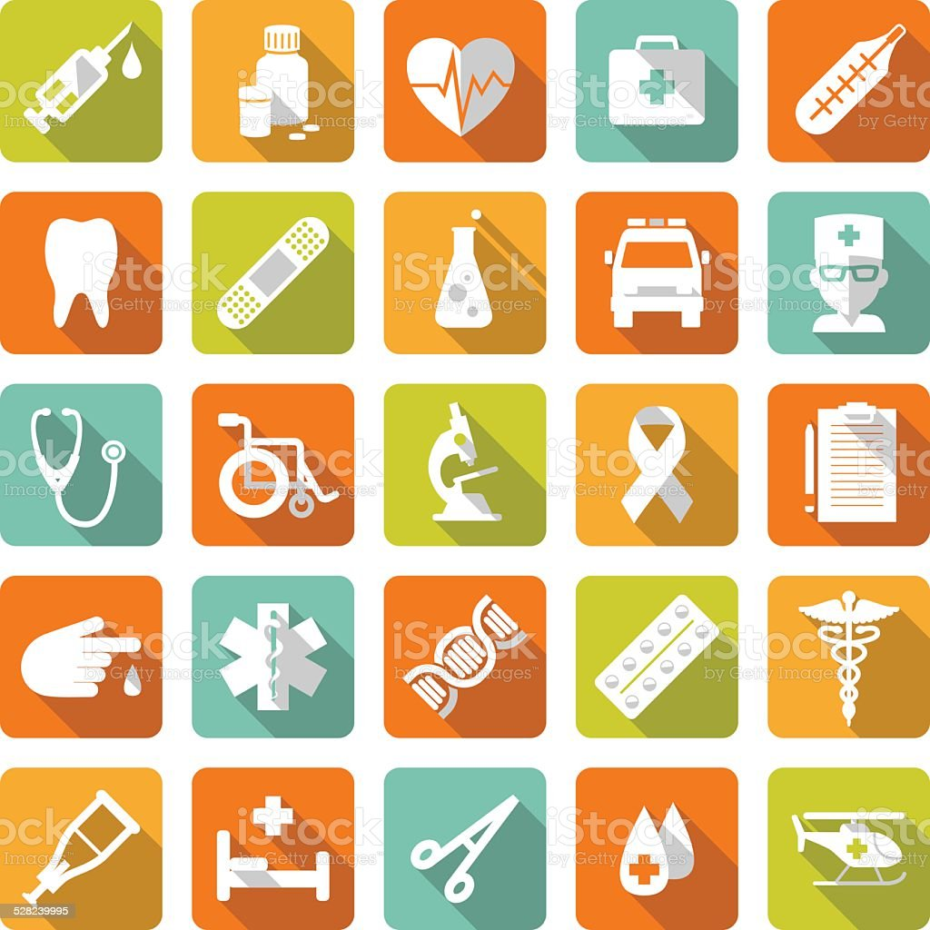 Set of medical icons in flat style vector art illustration