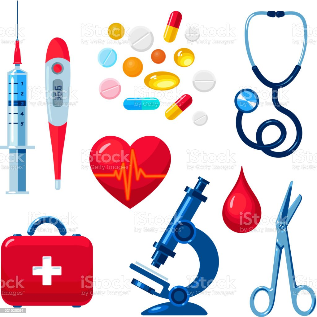 Set of medical icons isolated, color flat vector art illustration