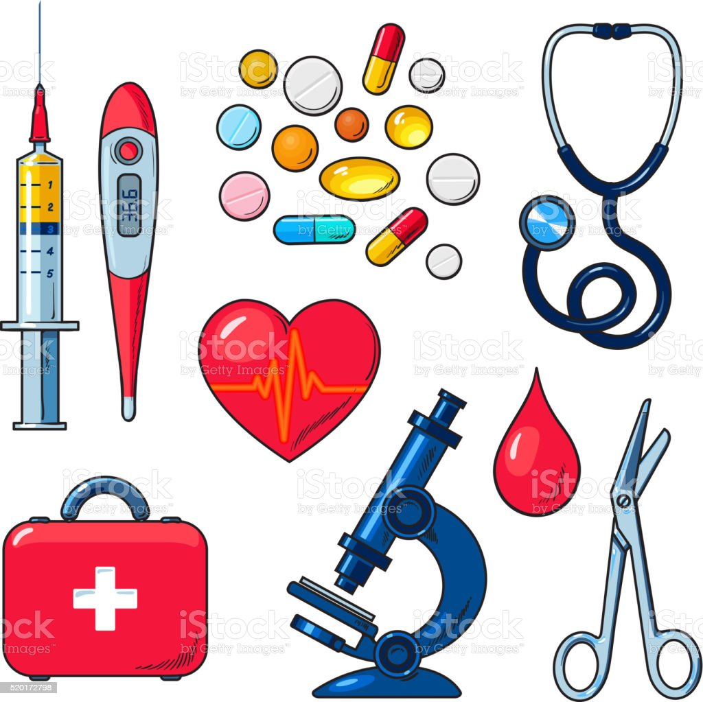 Set of medical icons isolated, color sketch vector art illustration