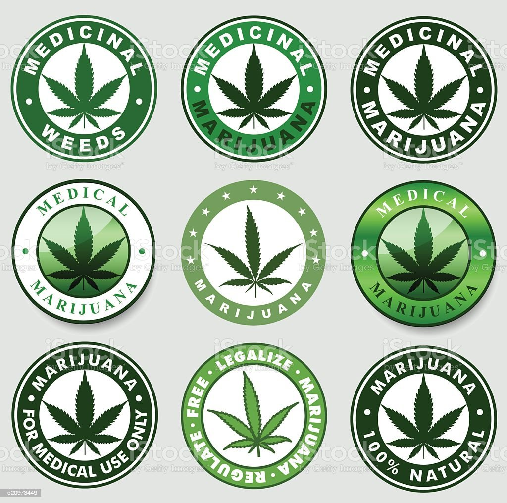 Set of Medical / medicinal marijuana labels. vector art illustration