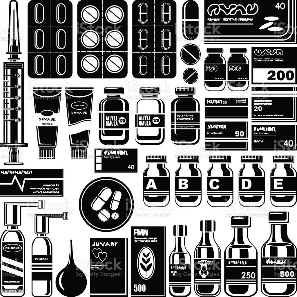 Set of medicament symbols. royalty-free stock vector art