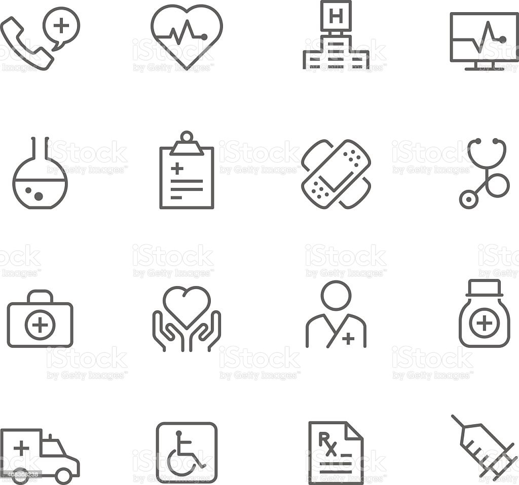 Set of medicinal icons in rows on a white background vector art illustration