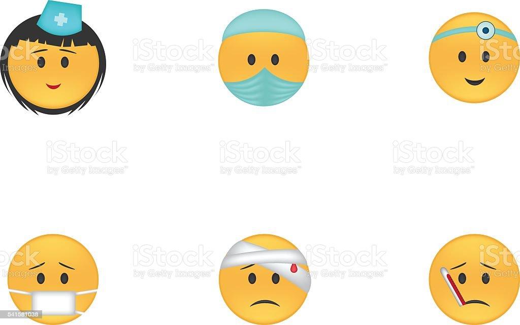 Set of medicine emoticon vector art illustration