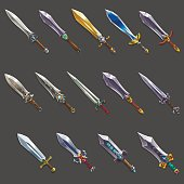 Set of medieval cartoon swords. Vector illustration.