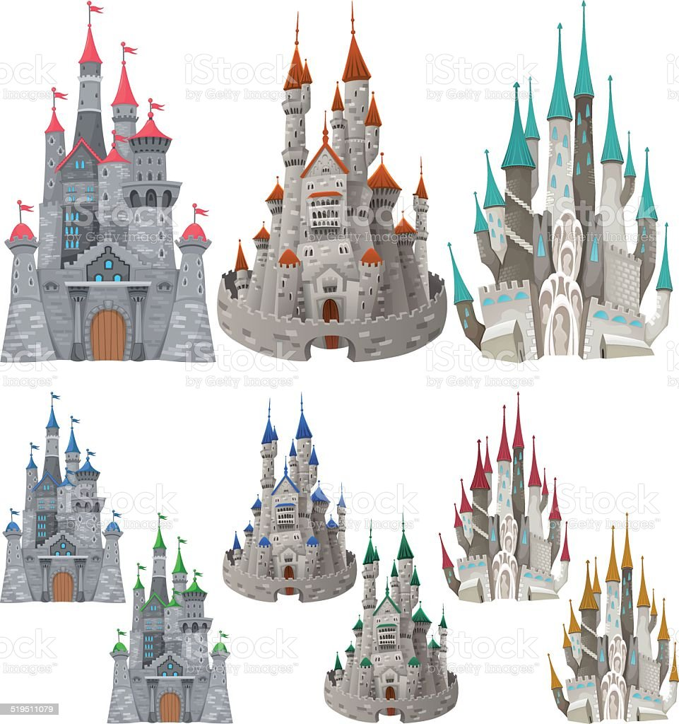 Set of medieval castles in different colors. vector art illustration