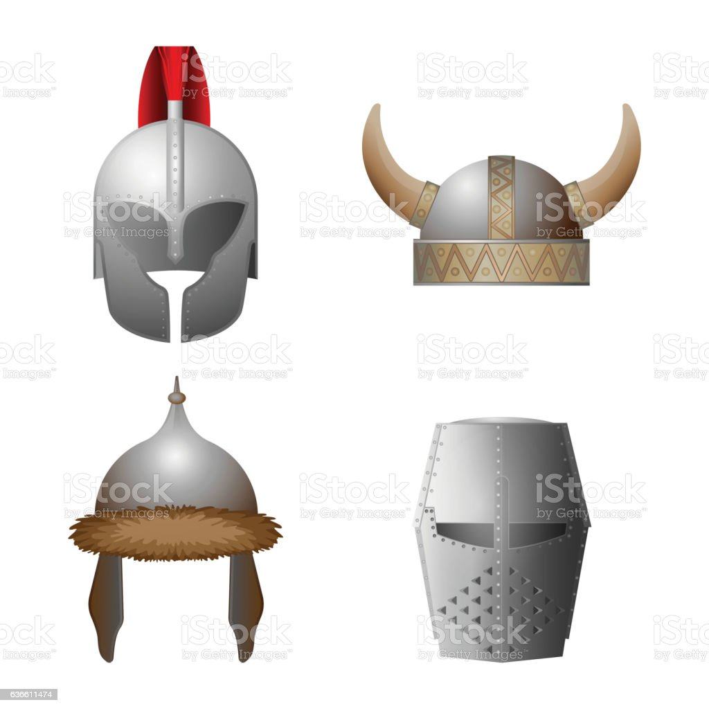 Set of medieval viking, knight, horned, coppergate helmets vector art illustration