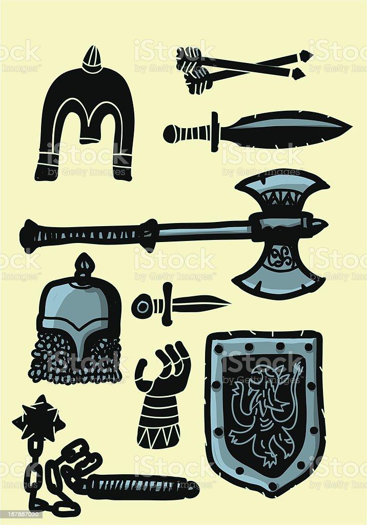 set of medieval weapons vector art illustration