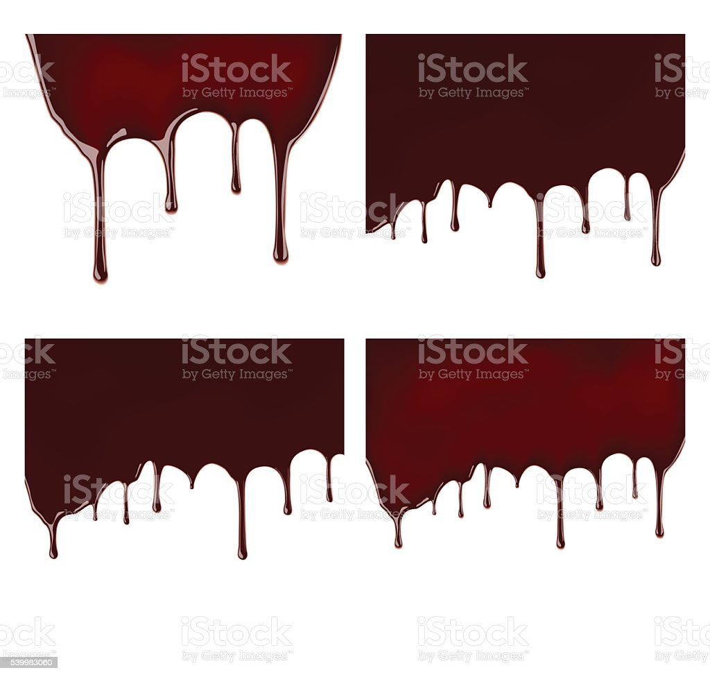 Set of melted chocolate syrup leaking on white background. vector art illustration
