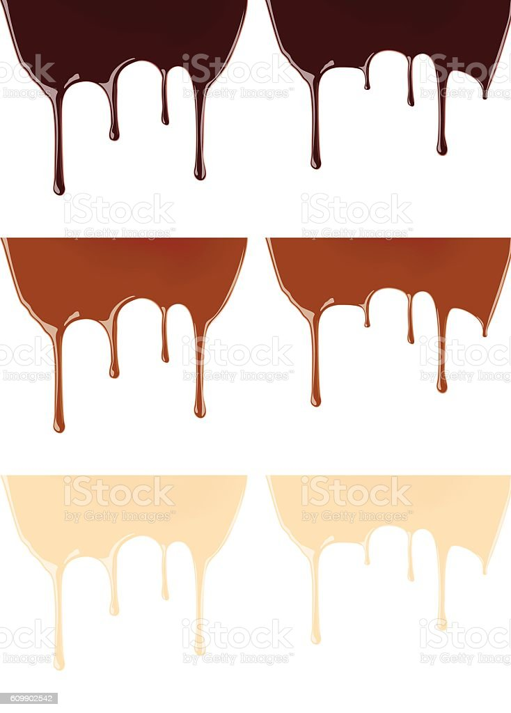 Set of melted dark or milk chocolate syrup vector art illustration