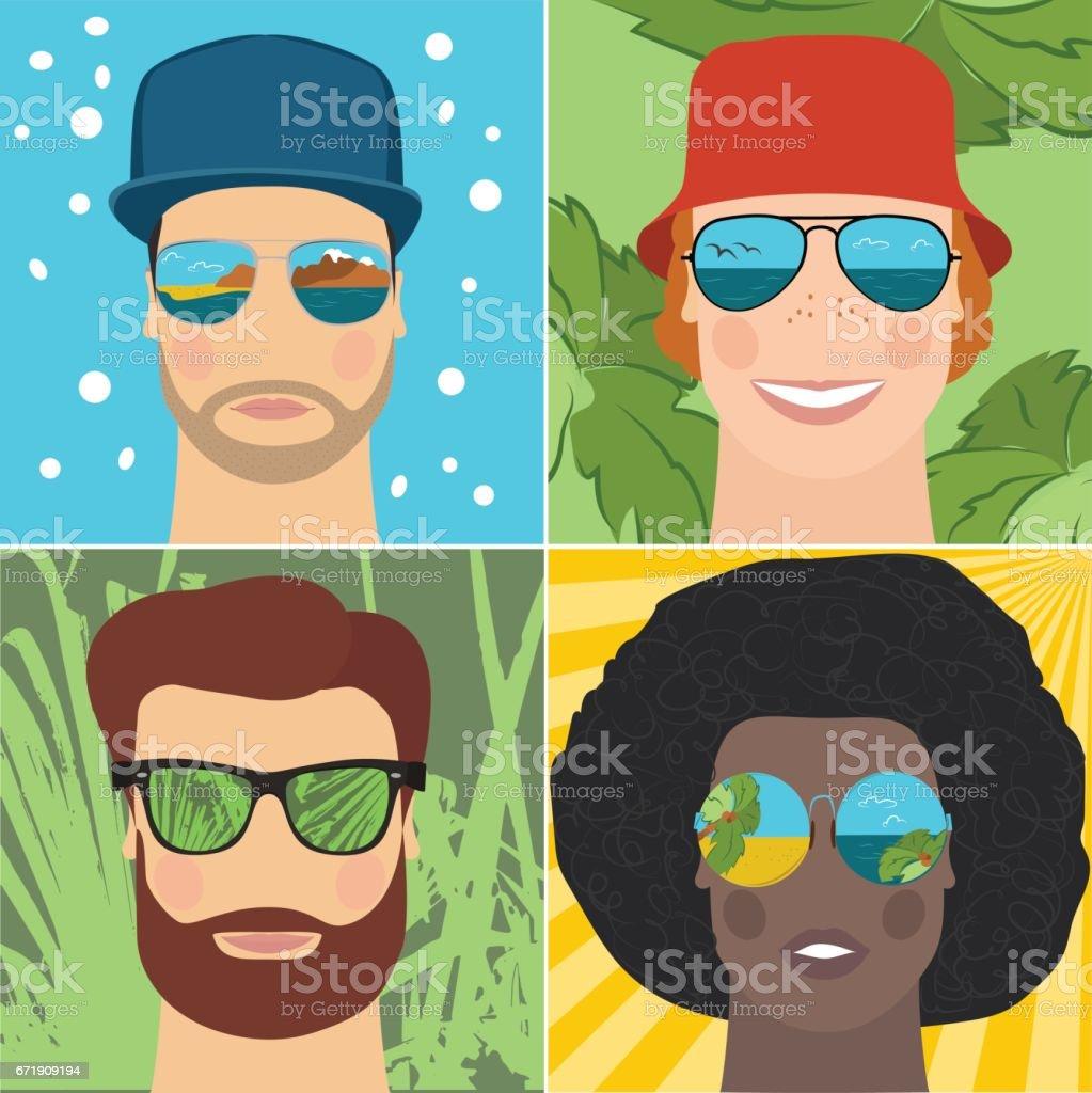 Set of men in mirrored sunglasses vector art illustration