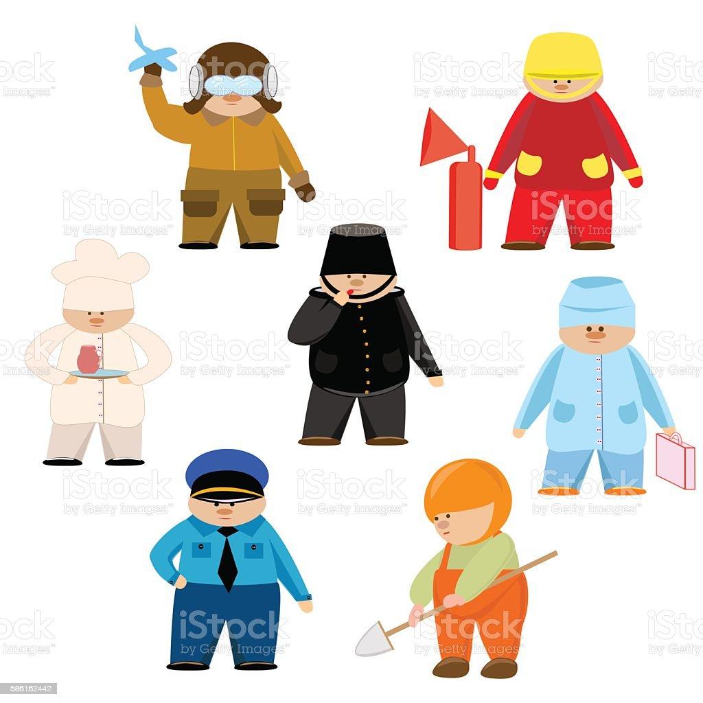 set of men policeman, fireman, engineer, cook, doctor, worker, pilot royalty-free stock vector art